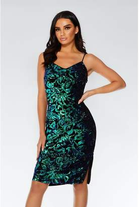 Quiz Black and Green Sequin Midi Dress