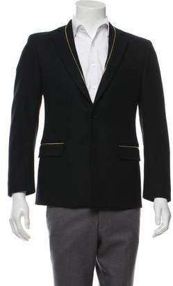 Versace Virgin Wool Zipper-Trimmed Blazer