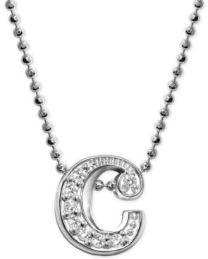 """Alex Woo Diamond Accent Initial """"c"""" Pendant Necklace in 14k White Gold"""