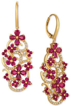 LeVian Le Vian Certified Passion Ruby (5 ct. t.w.) & Diamond (1/2 ct. t.w.) Drop Earrings in 14k Gold