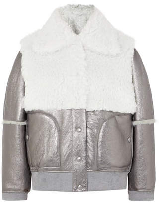 See by Chloe Metallic Leather And Shearling Jacket - Silver