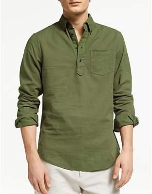 10b9e2b878dc John Lewis & Partners Garment Dyed Linen Blend Popover Shirt