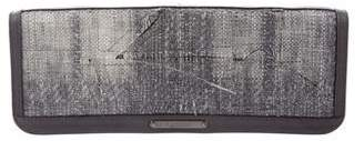 Burberry Distressed Woven Straw Clutch