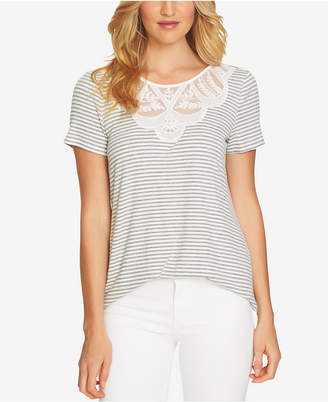 CeCe Ribbed Illusion-Contrast Top