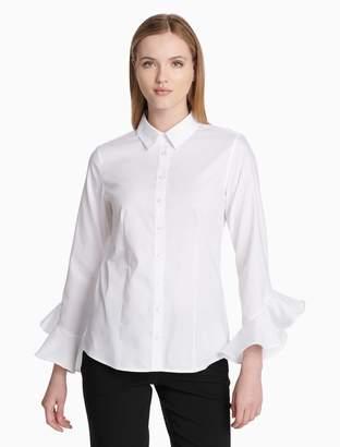 Calvin Klein button-down ruffle sleeve shirt