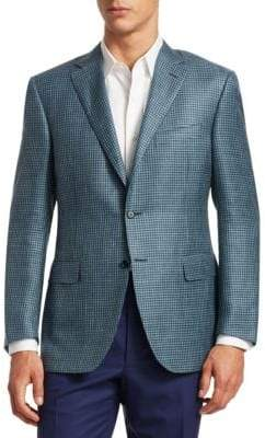 Canali Houndstooth Slim-Fit Wool, Silk & Linen Blazer
