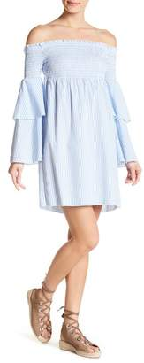 Romeo & Juliet Couture Off-the-Shoulder Bell Sleeve Striped Dress