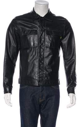 Versace Leather Button-Up Jacket