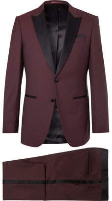HUGO BOSS Burgundy Slim-fit Silk Satin-trimmed Virgin Wool Tuxedo