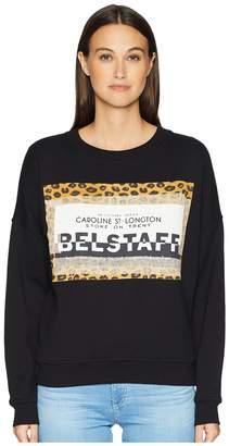 Belstaff Alness Leopard Graphic Long Sleeve Crew Sweater Women's Clothing