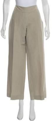 Armani Collezioni Mid-Rise Wide-Leg Pants Beige Mid-Rise Wide-Leg Pants