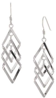 SERPENTINA SILVER Sterling Silver Triple Diamond Dangly Drop Earrings