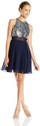 Speechless Juniors' Sleeveless Chiffon Short Prom Dress with Sequin Popover Top