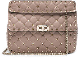 Valentino Medium Rockstud Spike Shoulder Bag in Poudre | FWRD