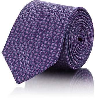 Barneys New York Men's Micro-Zigzag Silk Jacquard Necktie