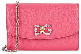 Dolce & Gabbana Wallet On Chain Fuchsia Leather Clutch