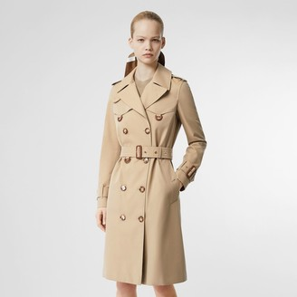 Burberry Leather D-ring Detail Cotton Gabardine Trench Coat