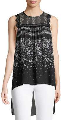 BCBGMAXAZRIA Lace-Trimmed Floral High-Low Blouse