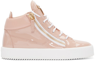 Giuseppe Zanotti Pink Patent Leather London High-Top Sneakers $750 thestylecure.com