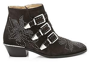 Chloé Women's Susanna Studded Suede Buckle Booties