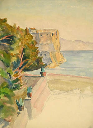 One Kings Lane Vintage Villa Sea View Watercolor - C. 1930 - MAPSandART Art
