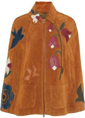 RED Valentino Leather-appliqued Suede Cape