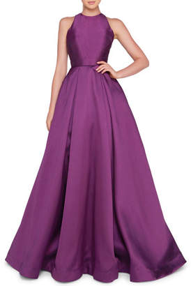 Mac Duggal Ieena for High-Neck Sleeveless Ball Gown with Bow Accent