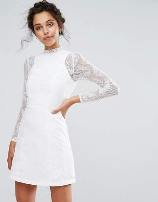 Chi Chi London Lace A Line Mini Dress with Long Sleeves