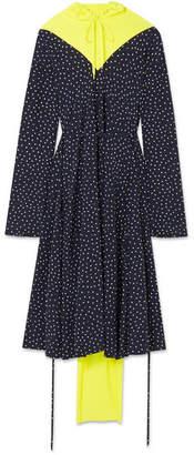 Vetements Cotton Fleece-paneled Printed Silk Crepe De Chine Dress