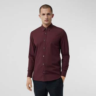 Burberry Check Cuff Stretch Cotton Poplin Shirt