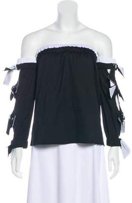 Milly Bow-Accented Off-The-Shoulder Top w/ Tags