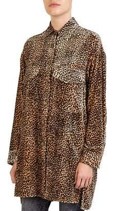The Kooples Leopard-Print Velvet Tunic Shirt