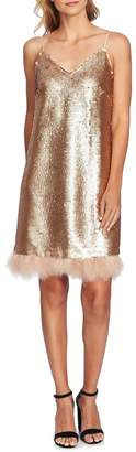 Cynthia Steffe CeCe by Feather Trim Sequin Slipdress