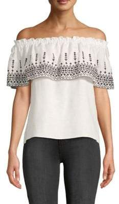 Parker Embroidered Off-The-Shoulder Top