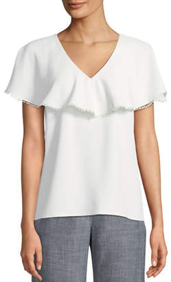 Trina Turk Dolce Crepe Top w/ Popover Capelet