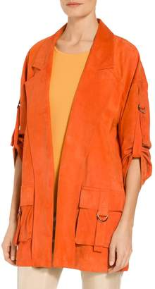 St. John Silken Suede Slouchy Sleeve Jacket