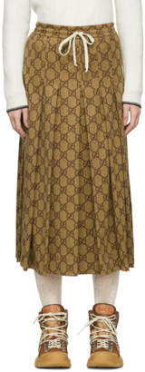 Gucci Brown Pleated GG Skirt