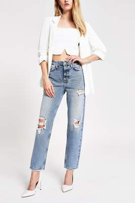 River Island Womens Mid Authentic Straight Alien Jeans - Natural