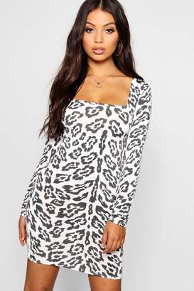 boohoo Petite Animal Print Square Neck Bodycon Dress