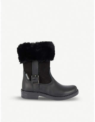 STEP2WO Lohan leather and faux-fur boots 4-9 years