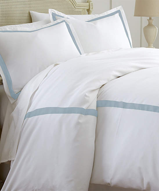 White & Sterling Blue Satin Ribbon Cotton-Blend Duvet Cover Set