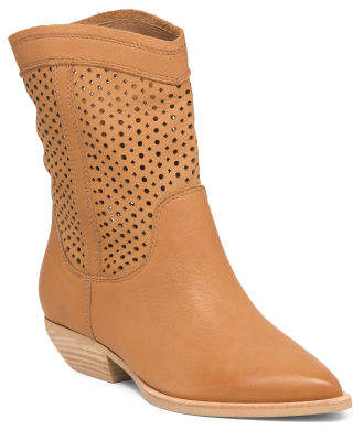 Perforated Leather Mid Shaft Boots