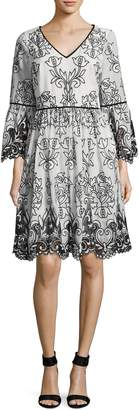Badgley Mischka Women's Embroidery Lace Day Dress