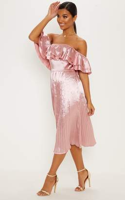 PrettyLittleThing Rose Satin Bardot Layered Pleated Skater Midi Dress