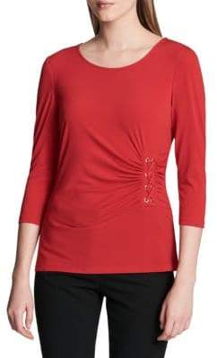 Calvin Klein Three-Quarter-Sleeve Ruched Top