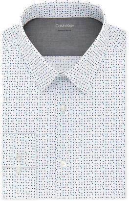 Calvin Klein X Men's Extra-Slim Fit Thermal Performance Stretch Blue Dot Dress Shirt