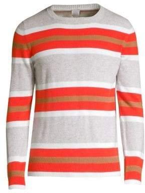 Eleventy Men's Stripe Cashmere Sweater - Orange Red - Size Small