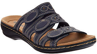 Clarks Leather Triple Strap Slides -Leisa Cacti