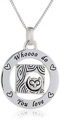 "Sterling Circle ""Whooooo Do You love"" with Owl Pendant Necklace"