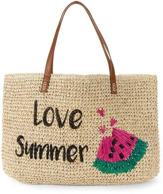Saks Fifth Avenue Marabelle Embroidered Love Summer Paper Straw Graphic Tote
